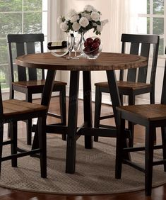 Dining Room Natural Wood Finish Round Counter Height Table by Poundex Tall Dining Room Table, Round Counter Height Table, High Top Table Kitchen, Bar Height Table, Round Dining Table, Kitchen Tables, High Table And Chairs, Kitchen Ideas, Kitchen Decor