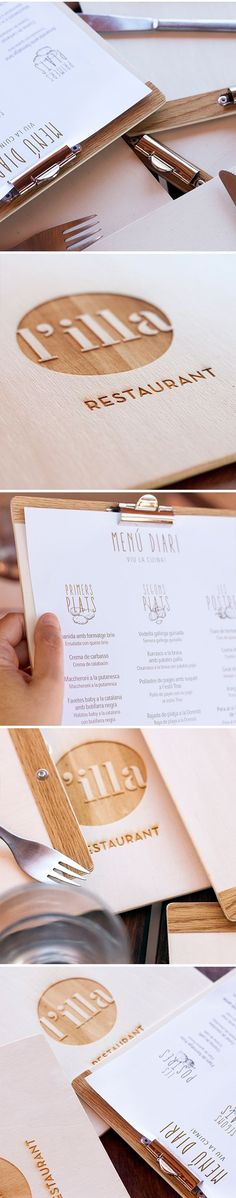 A restaurant menu design. The logo is printed by laser on wood. A good idea for restaurants that change its menu daily. Menue Design, Food Menu Design, Restaurant Identity, Restaurant Menu Design, Restaurant Bar, Signage Design, Branding Design, Logo Design, Corporate Branding
