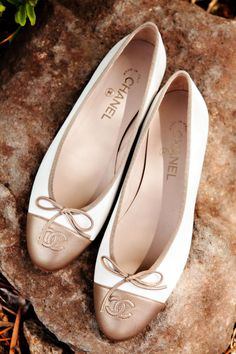 Chanel - nice iteration of two-tone cap toe ballerina flats Prom Shoes, Wedding Shoes, Cute Shoes, Me Too Shoes, Shoe Boots, Shoes Heels, Flat Shoes, Shoes Sneakers, Yeezy Shoes