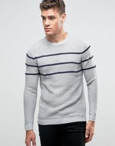 Pull&Bear Sweater In Gray With Black Stripes