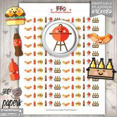BBQ Stickers, Grill Out, Barbecue, Picnic, Printable Planner Stickers, Erin Condren, Kawaii Stickers, Planner Accessories, Printable Stamps