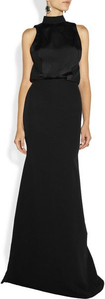 Victoria Beckham Crepe and Matte satin Gown in Black - Lyst