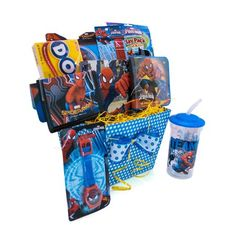 All time hero, Spiderman is excited to deliver your warmest wishes to his special fans. This unique Spiderman gift basket includes  Spiderman tumbler  Spiderman watch  Spiderman bracelet and army tag necklace  Spiderman wallet  Spiderman puzzle