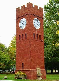 Romanesque Clock Tower in Hudson Ohio