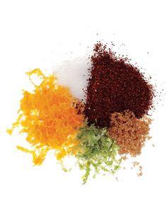 Spicy Citrus Popcorn: chili powder, salt, orange zest, lime zest, dark brown sugar