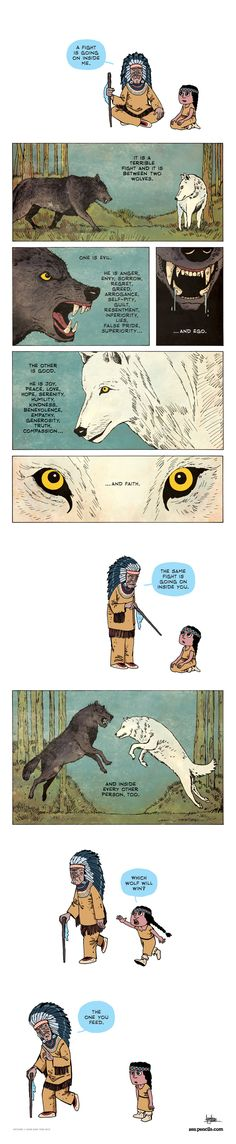 Zen Pencils. The two wolves. Drawings. Debuxos. Dibujos