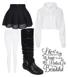 """Monochrome"" by alexreinereignssupreme ❤ liked on Polyvore featuring New Look and River Island"