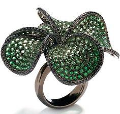 Wendy Yue- tsavorite & black diamond ring 18-karat white gold & black rhodium