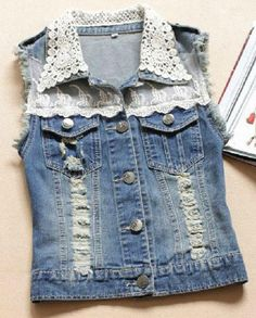 Crochet Collar Fringed Denim Vest Top from Jex Boutique. Saved to Tops. Shop more products from Jex Boutique on Wanelo.