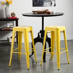 Tabouret 24-inch Lemon Metal Counter Stools (Set of 2) | Overstock.com Shopping - The Best Deals on Bar Stools