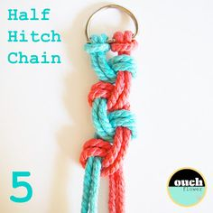 This Half Hitch Chain with alternating colors is an excellent beginners project!!!  Makes great gifts!!!