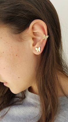 how to wear cartilage helix hoop pin piercing earrings inspiration idea Jewelry Nickel Free Loop Star Segment Nose Lip Clicker Ring Ear Studs For Women Girls Men Anti Tragus Conch Nose Snug Rook Daith Lobe Small Gold Hoop Earrings, Diamond Cross Necklaces, Flower Earrings, Diamond Earrings, Butterfly Earrings, Earring Studs, Ear Jewelry, Cute Jewelry, Jewelry Accessories