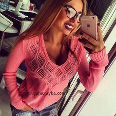 Пуловер с ажурною кокеткою спицами. Вязаный спицами ажурный пуловер для женщин   Я Хозяйка