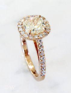 Shelby - unique light yellow diamond engagement ring in rose gold by Dana Walden Bridal