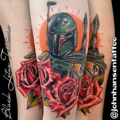 """He's no good to me dead"" I love Star Wars :) I will happily do realistic Star Wars tattoos forever, and my dude @tyler480 is King of traditional Star Wars tattoos. He is even a Lucasfilm Certified tattooer! #bobafetttattoo #rosestattoo #illustrativetattoo #illustrativerealism #tylernealeightattoo #blacklotustattooers #aztattooer #rosestattoo #neotraditionaltattoo #neotradsub #starwars #starwarstattoo @blacklotustattooers"