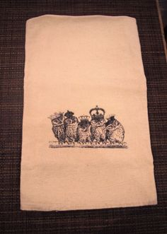 Our new Royal Owls on a natural flour sack towel.
