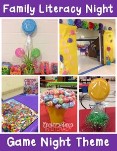 Candy Land Game Night! This was the theme of our recent Family Literacy Night. I think Game Night has been one of my favorite themes that we have done! The Candy Land colors were great for spring t