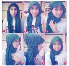 :) Modest Clothing, Modest Outfits, Modest Fashion, Hijab Fashion, Square Hijab Tutorial, Hijab Style Tutorial, Moslem Fashion, Hijab Ideas, Hijab Styles