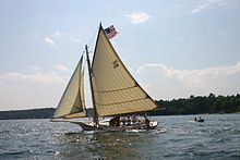 Friendship Sloop - Wikipedia, the free encyclopedia The rigging lines are interesting, and the negative space  they create could be something to incorporate into the design through rope/welded steel lines.