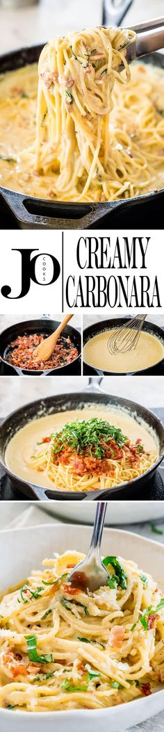 This Creamy Carbonara is a plate of heavenly, creamy pasta. Silky spaghetti with crispy pancetta in a super creamy and cheesy sauce. Simply delicious and so easy to make them at home. #carbonara #creamycarbonara via @jocooks