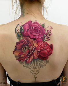Tattoo Anastasiya Dadeeva - tattoo's photo In the style Realistic, Female, Flowers, Ornamen Rose Tattoos, Body Art Tattoos, Girl Tattoos, Sleeve Tattoos, Tattoos For Women, Tatoos, Beautiful Flower Tattoos, Pretty Tattoos, Colorful Flower Tattoo