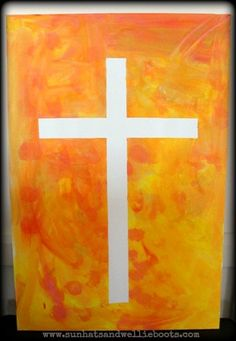 Sun Hats & Wellie Boots: Tape Resist Art - Easter Canvases - this would be cool with a more intricate cross stencil