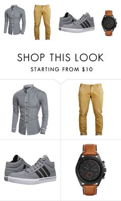 """Casual"" by amel-520 ❤ liked on Polyvore featuring adidas, FOSSIL, men's fashion and menswear"
