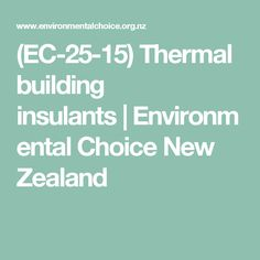EC 25 15 Thermal Building Insulants