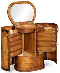 Art Nouveau period oval vanity dressing table with a practical arrangement of drawers and storage inside, floral marquetry on the hinged mirrored top and doors and finely cast brass hardware elements. After a design of Art Nouveau Furniture, Antique Furniture, Cool Furniture, Furniture Design, Unusual Furniture, Furniture Storage, Muebles Estilo Art Nouveau, Muebles Art Deco, Organizer Makeup