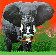 Divirtiendose con la lectura (ilustración de Henri Galeron)