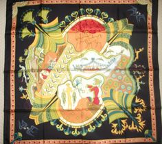 "NEW HERMES 35"" SILK SCARF - LES PRINTEMPS DE THERA  - BLACK BACKGROUND #HERMES #Scarf"