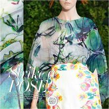 140 cm 6mm zielone rośliny druku różowy jedwab tkanina organza sukienka koszula ubranie spodnie(China (Mainland))