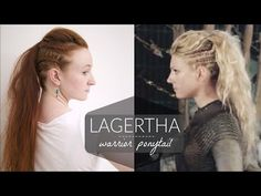 Lagertha Vikings Warrior Ponytail Tutorial - YouTube