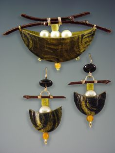 jewelry image of Handmade Paper Pin and Earrings