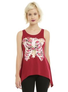 Beautiful bones. // Burgundy Rose Rib Cage Girls Sharkbite Tank Top
