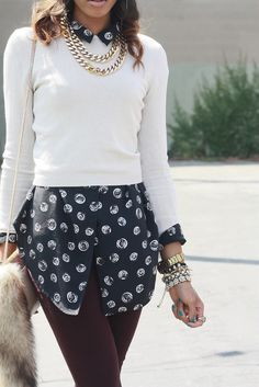 Cute Spring Outfit could even try with sweater and long floral grey and lavender blouse