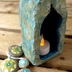 Handmade paper mache shrine cabinet. With a touch of gold...