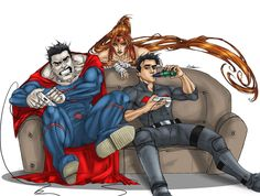 The (new) outlaws Jason, Artemis and Bizarro having some free times ^^ An art I did for my friend (his original idea).