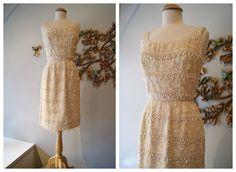 60s Dress // Vintage 1960s Beaded Wiggle Dress