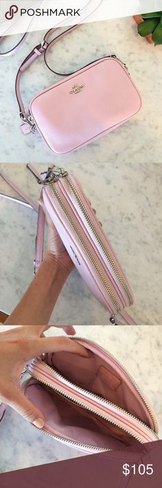 """NWOT Coach pebble leather bag New without tags, unused! Authentic Coach pebble leather double zipper shoulder bag. One compartment has 2 card slots and the other has an interior pocket. 22.5"""" removable strap. No trades. Price is firm! No offers. Bags Shoulder Bags"""