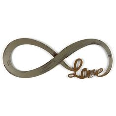 Letter2Word Hand Painted Infinity Symbol & Love 3D Wall Sculpture,... ($45) ❤ liked on Polyvore featuring home, home decor, brushed nickel and distressed home decor