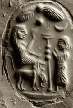 "The Goddess on a Lion Throne is abundantly attested in the archaeology of Lebanon, Syria, Jordan, and Canaan/Israel. is the ""owl"" Mithra, Sumerian flying craft? sun surrounded by 7 planets and the moon Ancient Aliens, Ancient Art, Ancient History, Art History, Ancient Mesopotamia, Ancient Civilizations, Lion With Wings, Potnia Theron, Epic Of Gilgamesh"