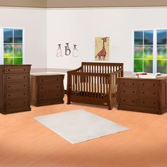 Ragazzi 4 Piece Nursery Set - Etruria Stages Sleigh Crib, 3 Drawer Chest, 5 Drawer Chest and 6 Drawer Dresser in Antique Cherry FREE SHIPPING
