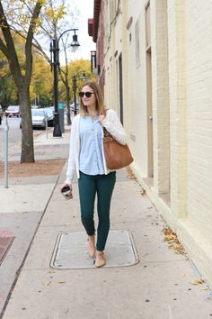 Get the most out of your colored denim by opting for deep jewel tones - they can be worn as neutral!