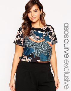 ASOS CURVE Top In Japanese Blossom Print