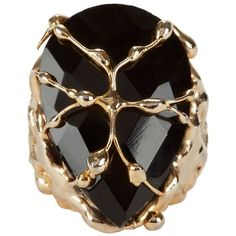 Rosantica Women's Baronessa Teardrop Cocktail Ring ($298) ❤ liked on Polyvore featuring jewelry, rings, black, rosantica jewelry, rosantica, special occasion jewelry, cage ring and teardrop jewelry