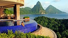 The 24 sanctuaries at Jade Mountain in St. Lucia each have an infinity pool, blurring the line between indoor and outdoor.