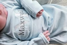 Personalized Newborn Gown | Gentry's Closet | $23 | Click link to shop: http://gentryscloset.com/collections/boys/products/baby-boy-monogrammed-blue-infant-gown-personalized-newborn-clothing-for-boys