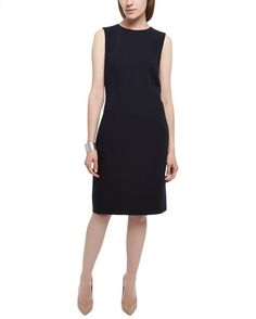 Wool Seamed Shift Dress - Midnight - Model Image
