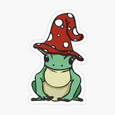 Indie Drawings, Cute Drawings, Mushroom Hat, Arte Indie, Mushroom Drawing, Frog Drawing, Frog Pictures, Pinturas Disney, Frog Art